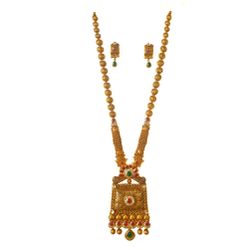 22k gold antique rajwadi complete bridal necklace set mga - gls0097