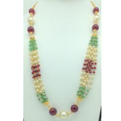 FreshwaterRound Pearlswith Ruby,EmeraldsGold Taar Necklace JGT0029