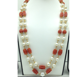 SouthSea Pearlswith Corals DholkiGold Taar Necklace JGT0028