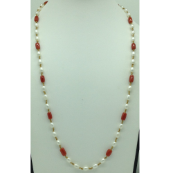 White Freshwater Oval Pearls With Corals Dholki Gold Taar Necklace JGT0010