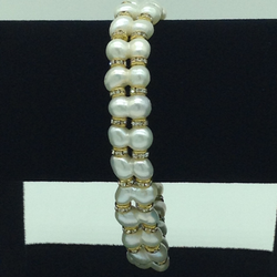 White Twin Pearls And CZ Chakri 2 Layers Bracelet JBG0094