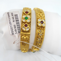 916 Gold Antique Studded Bangles For Ladies RHJ-5449
