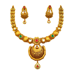 22K Gold Antique Modern Necklace Set With Earrings MGA - GN0095