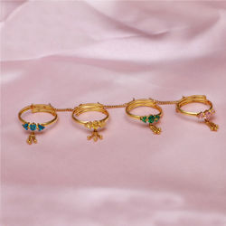 916 Gold Fancy Four Finger Ring PJ-R034
