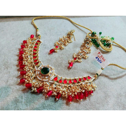 Beautiful Pink Green And White Kundan's  Necklace Set 1092
