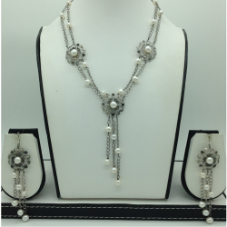 Freshwater White Pearls Silver Necklace Set JNC0065