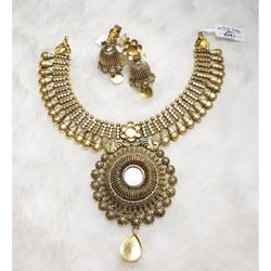 916 Gold Antique Wedding Necklace Set KG-N07