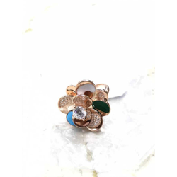 92.5 Sterling Silver Colorful Ladies Rose Ring