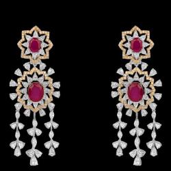 Diamonds and Ruby EarringsJSJ0191