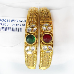 22kt gold antique studded bangle kada rhj-6290
