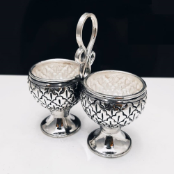 Puran pure silver Stylish Kumkum kankavati in antique (2 Cup Set)