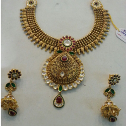 916 gold antique necklace set