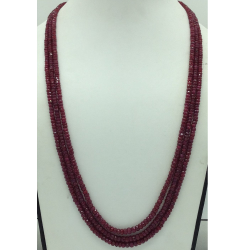 Natural Red RubyRound Faceted Beeds 3Layers Necklace JSR0161