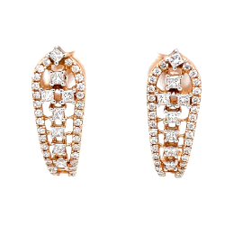 Diamond ear loops with round & princess cut diamonds 9top25