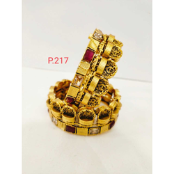 Antique gold Polish Square Shape Work With White  and red (ruby) stone & screw openable kada 1220