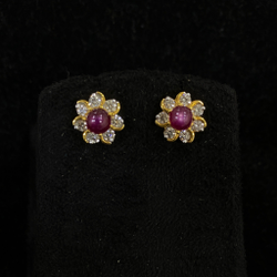 Star Ruby Diamond Earring