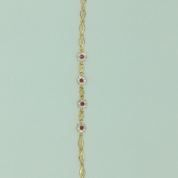 White And Red CZ Golden Alloy Chain Bracelet JBG00144