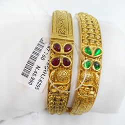 916 Gold Traditional Bangles For Women RHJ-6295
