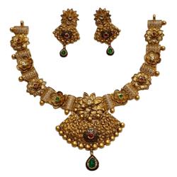 22K Gold Antique Oxidised Modern Necklace Set MGA - GN0098