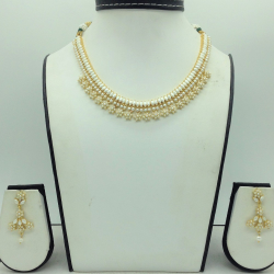 Freshwater White Button Pearls Necklace Set JNC0166