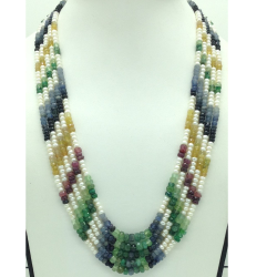 White Flat Pearls with Multicolour Stones 5 Layers Necklace JPM0428