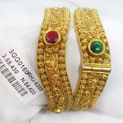 916 gold antique jadtar bangles rhj-6289