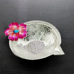 Fascinating hibiscus silver diya