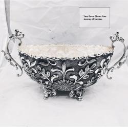 Puran deep carving silver fruit basket for Heirloom tabledecor