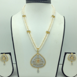 White and Golden CZPendentSet With 2Line FlatPearls Mala JPS0703
