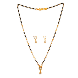 1 Gram Gold Plated Pear Cut Solitaire Diamond Mangalsutra MGA - MSE0139
