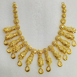 916 Gold Indian Design Necklace Set MJ-N009