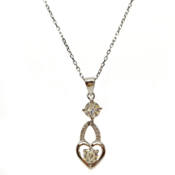 925 Sterling Silver Heart Shaped Necklace Chain MGA - NKS0083