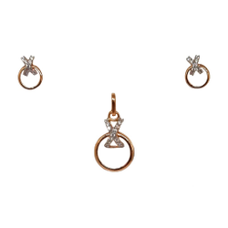 18k rose gold round shaped designer pendant set mga - ptg0155