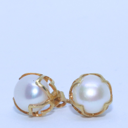 18KT Casual ware Natural Pearl simple earring for unisex BTG0279
