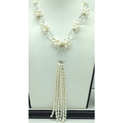 White OvalPearlswith Sphetic 3 Layers LongNecklaceJPM0437