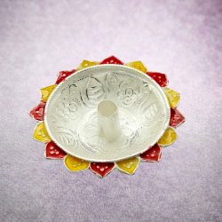 silver diya with Flower Shape base