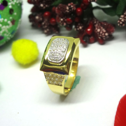 916 gold cz diamond gents ring