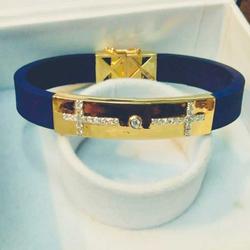 18 CARAT GOLD CLASSY & BOLD LEATHER BRACELET