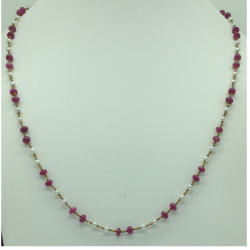 White freshwater round pearls with ruby gold taar mala jgt0012