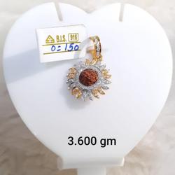 22KT Gold CZ Surya Pendant With Rudraksh KG-P10