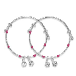 silver 925 sterling pink enamel bangle set of 2 for kids rj-s9b07