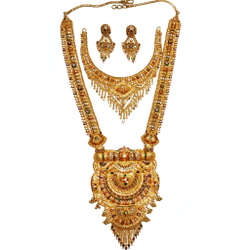 22k Gold Long Rajwadi With Half Necklace Set GLS015