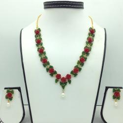 Coral Flower andJade Leaves Necklace Set JNC0135