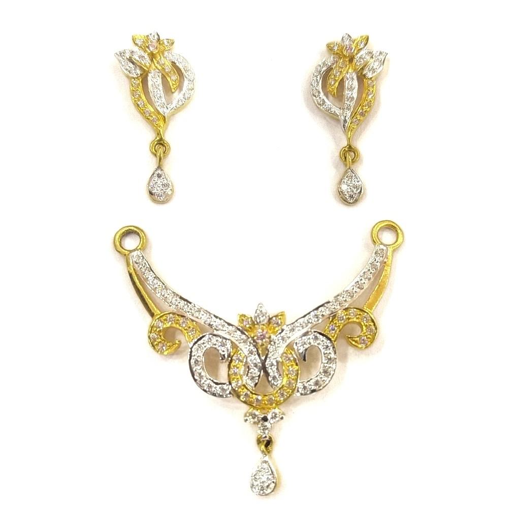 916 gold certified fancy diamond ladies mangalsutra pendant set