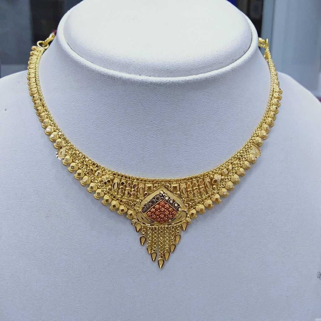 916 gold light weight fancy necklace set rj-k004