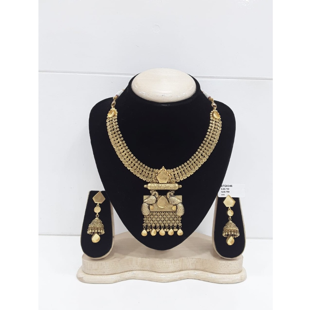 916 Gold Peacock Designs Jadau Khokha Necklace Set VJ-N004