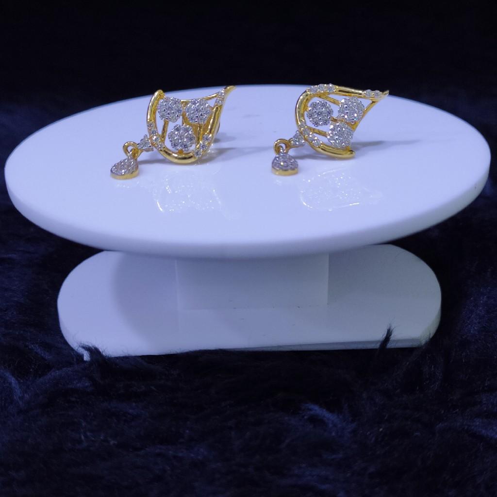 22KT/916 Yellow Gold Oval Earrings For Women