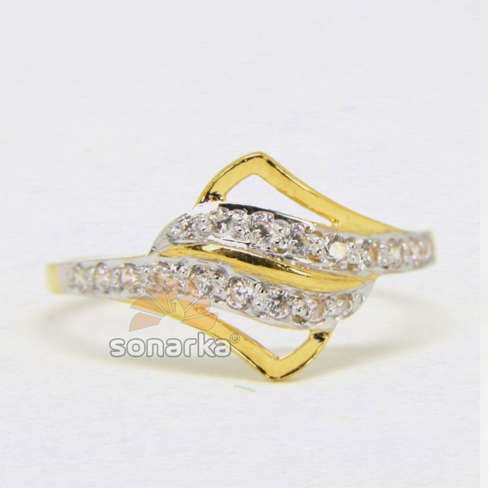 22ct Hallmarked Yellow Gold AD Diamonds Ladies Ring with Rodihum