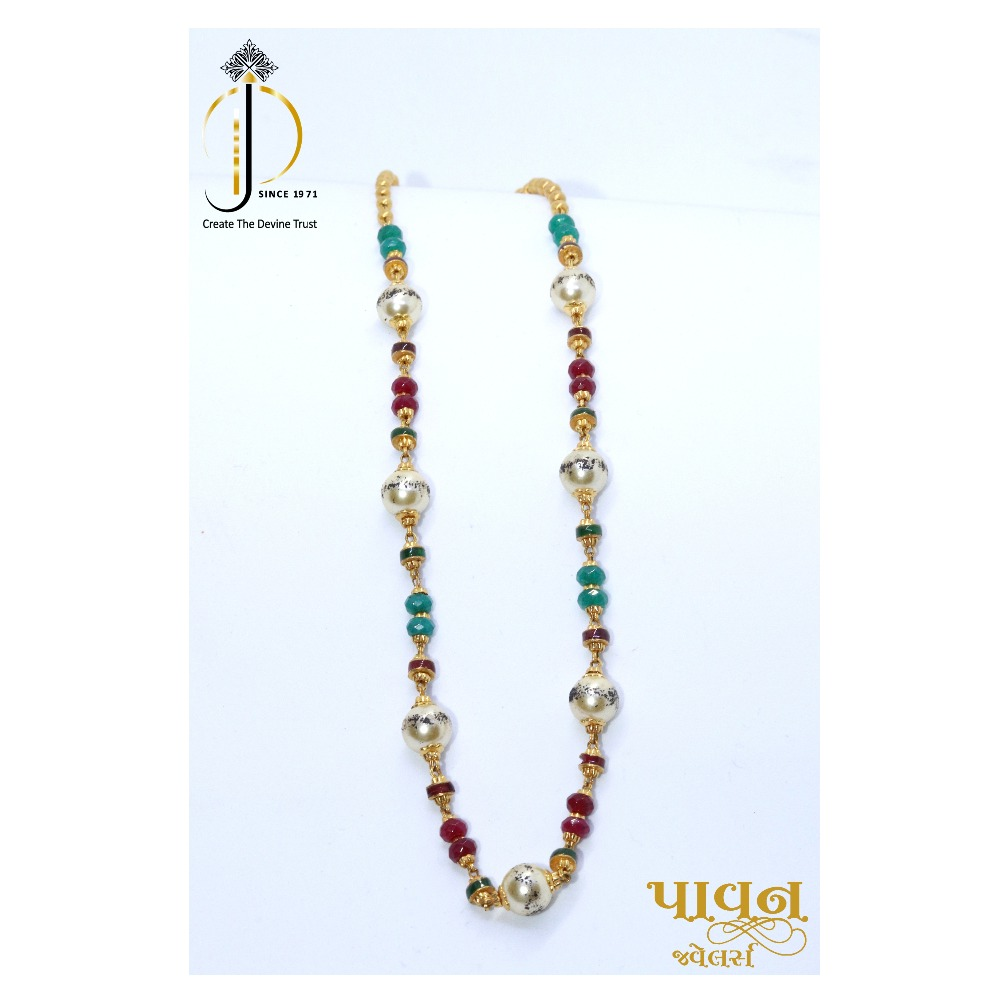 22kt / 916 Gold Colorful stone mala with moti For Women CHG0029
