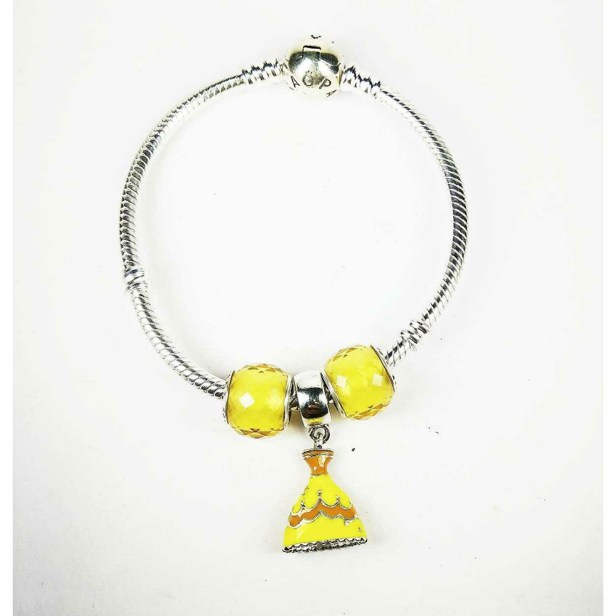 Fancy 925 Silver Ladies Pandora Kada Bracelet With Bell